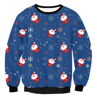 Christmas Santa Claus Printed Loose Sweater Unisex Men Women Pullover Autumn Winter Tops Xmas Clothing