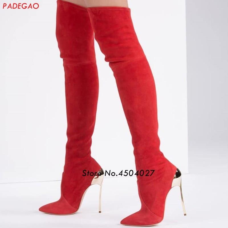 Nouveau style rouge daim femmes bottes chaussures sur le genou bottes cuissardes mode bout pointu chaussures talons hauts bottes