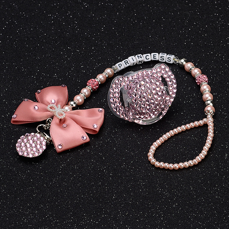MIYOCAR Personalised-any name set stunning pink bling bow pacifier clip holder dummy with