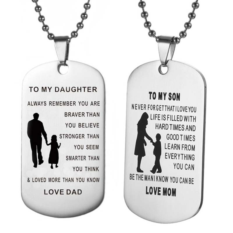 To My Son Amp Daughter Pendants Necklace Baby Child Mom Dad
