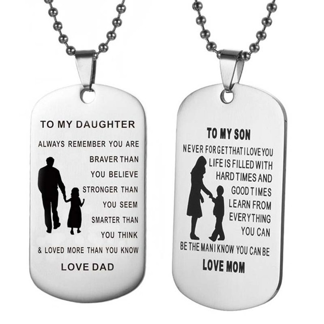 7a389c71047 TO MY SON   DAUGHTER Pendants Necklace Baby Child Mom Dad Loved Family Gifts  Stainless Steel