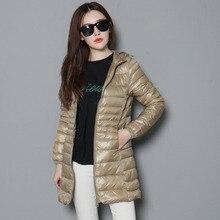 90% белый утиный пух, складываемое пальто, женский зимний ультра светильник, пуховик, Дамское длинное пуховое пальто с капюшоном размера плюс S-6XL, JK-152