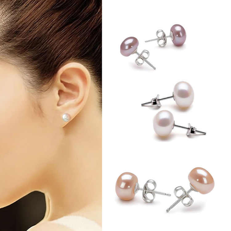 Trendy Charming Perhiasan Aksesoris Wanita Anting Mutiara Air Tawar Warna Putih Pink Ungu EAR-0519