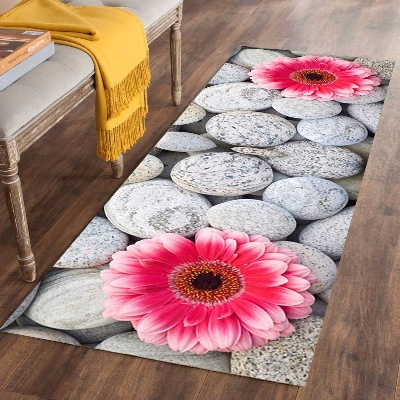 Else Gray Stones Pink Big Flowers Florals 3d Print Non Slip Microfiber Washable Long Runner Mats Floor Mat Rugs Hallway Carpets
