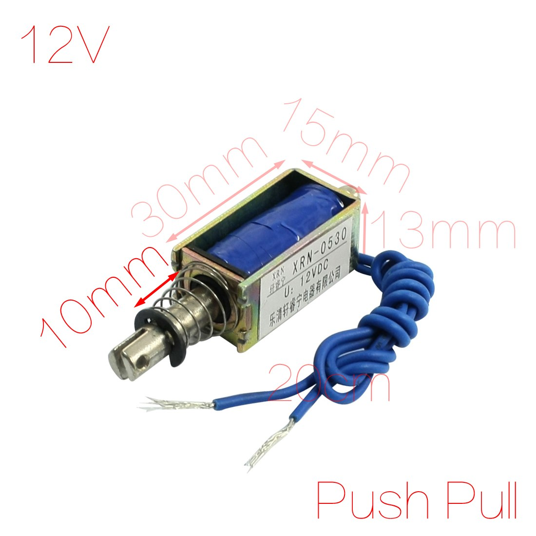 UXCELL 12V 2.1Kg Force 10Mm Stroke Push Pull Type Electric Solenoid Electromagnet 1x pull hold release10mm stroke 0 41kg force electromagnet solenoid actuator 12v