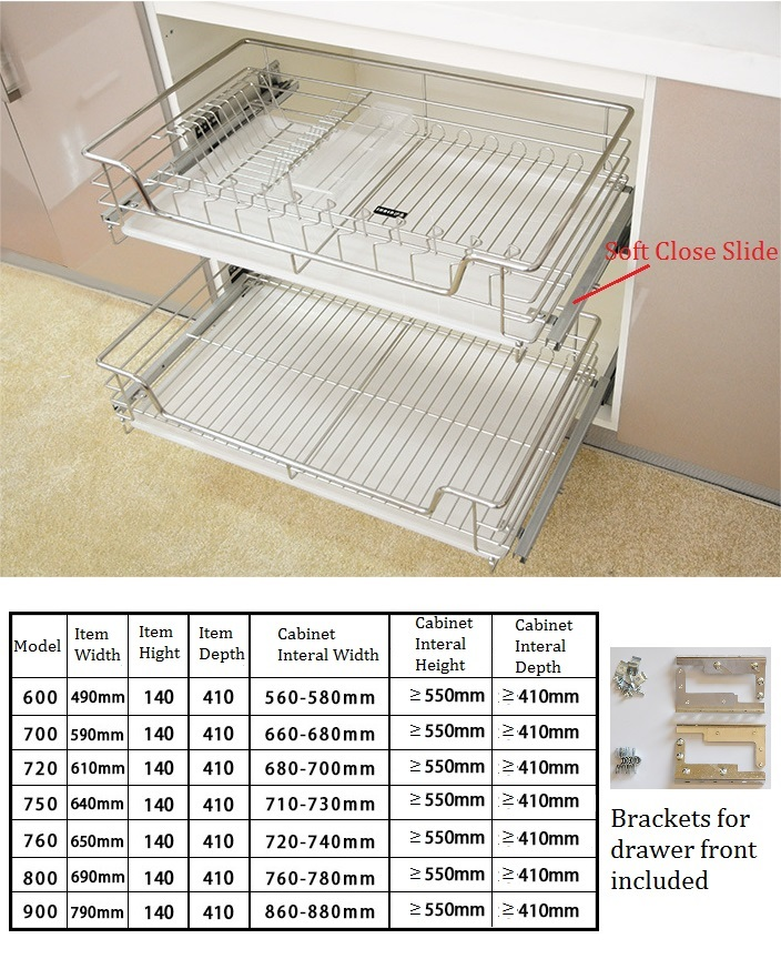 60 70 72CM Stainless Steel 2 Tiers Kitchen Cabinet Drawer Wire Basket Pull Out Kitchenware Storage Soft Close Slide