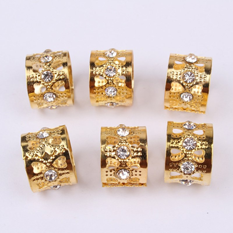 50pcs Gold Rhinestone Hair Dread Braids Dreadlock Beads Adjule Braid Cuffs Clip Heart Shape Extension Tool Jewelry 13mm In Links Rings S