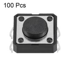 все цены на UXCELL 100PCS 12x12x5mm Switches Panel Mini/Micro/Small PCB Momentary Tactile Tact 4 Pins Black Square Push Button Switch DIP онлайн