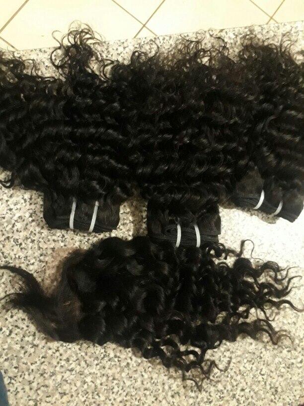 Satai Deep Wave 3 Bundles With Closure 100% Human Hair Bundles With Closure Brazilian Hair Weave Bundles Non Remy Hair Extension