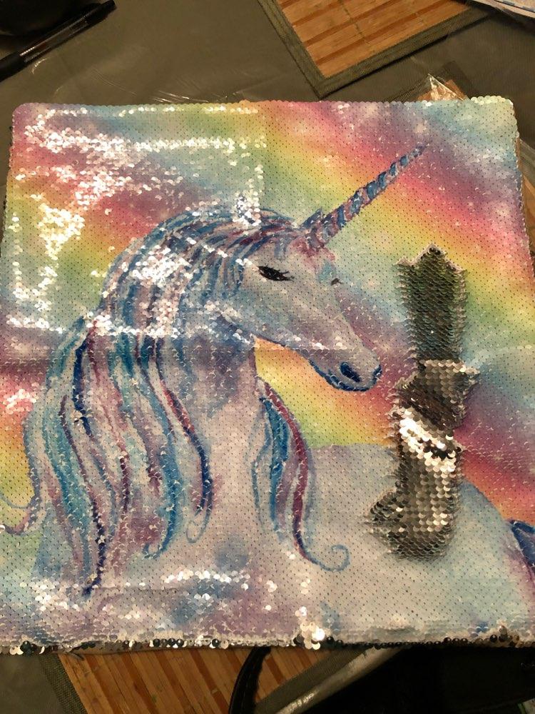 40x40cm Reversible Sequins Unicorn Cushion Cover For Sofa photo review