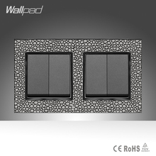 цена на 4 Gang 2 Way Furniture Hotel Luxury Wallpad Leather Frame 146*86mm 16A UK Standard on/off Switch Power Supply, Free Shipping