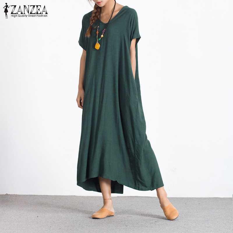 ef9e3bc107cb Plus Size 2018 Summer ZANZEA Women Dress Casual Loose Cotton Long Maxi  Dresses Sexy V Neck