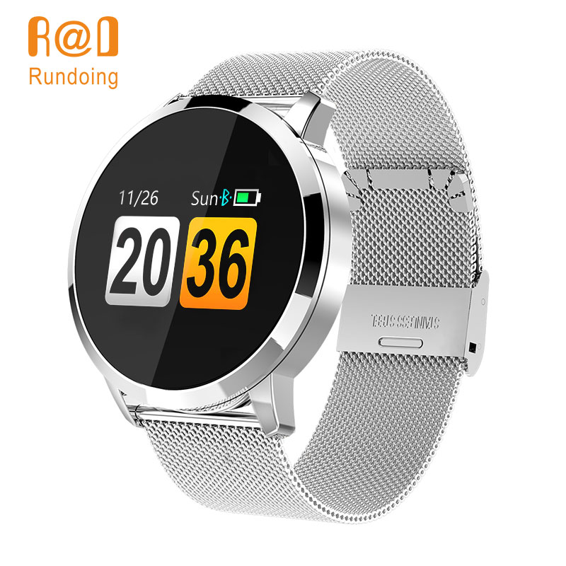 Rundoing Q8 Tela Colorida OLED Smartwatch Relógio Inteligente homens Da Moda de Fitness Rastreador Heart Rate