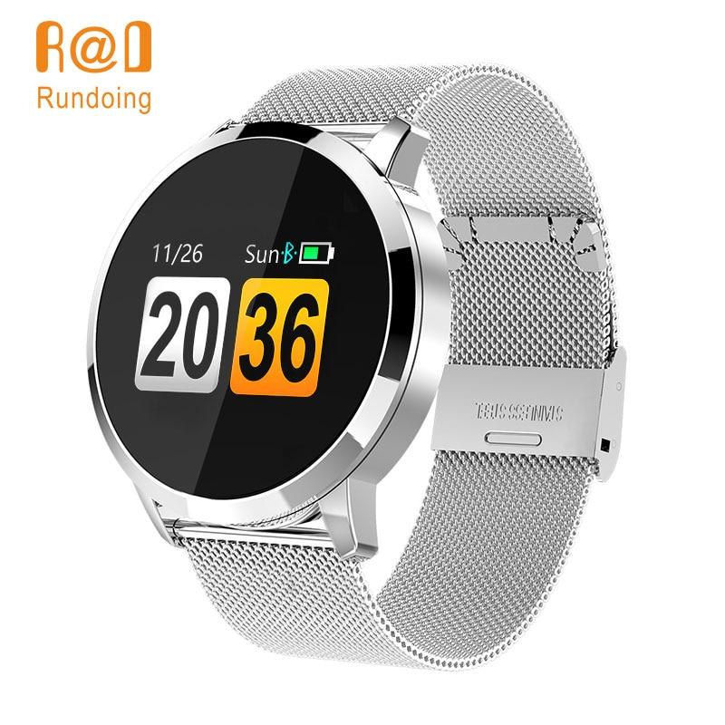 Rundoing Q8 reloj inteligente pantalla a Color OLED de reloj de moda de los hombres Fitness Tracker de