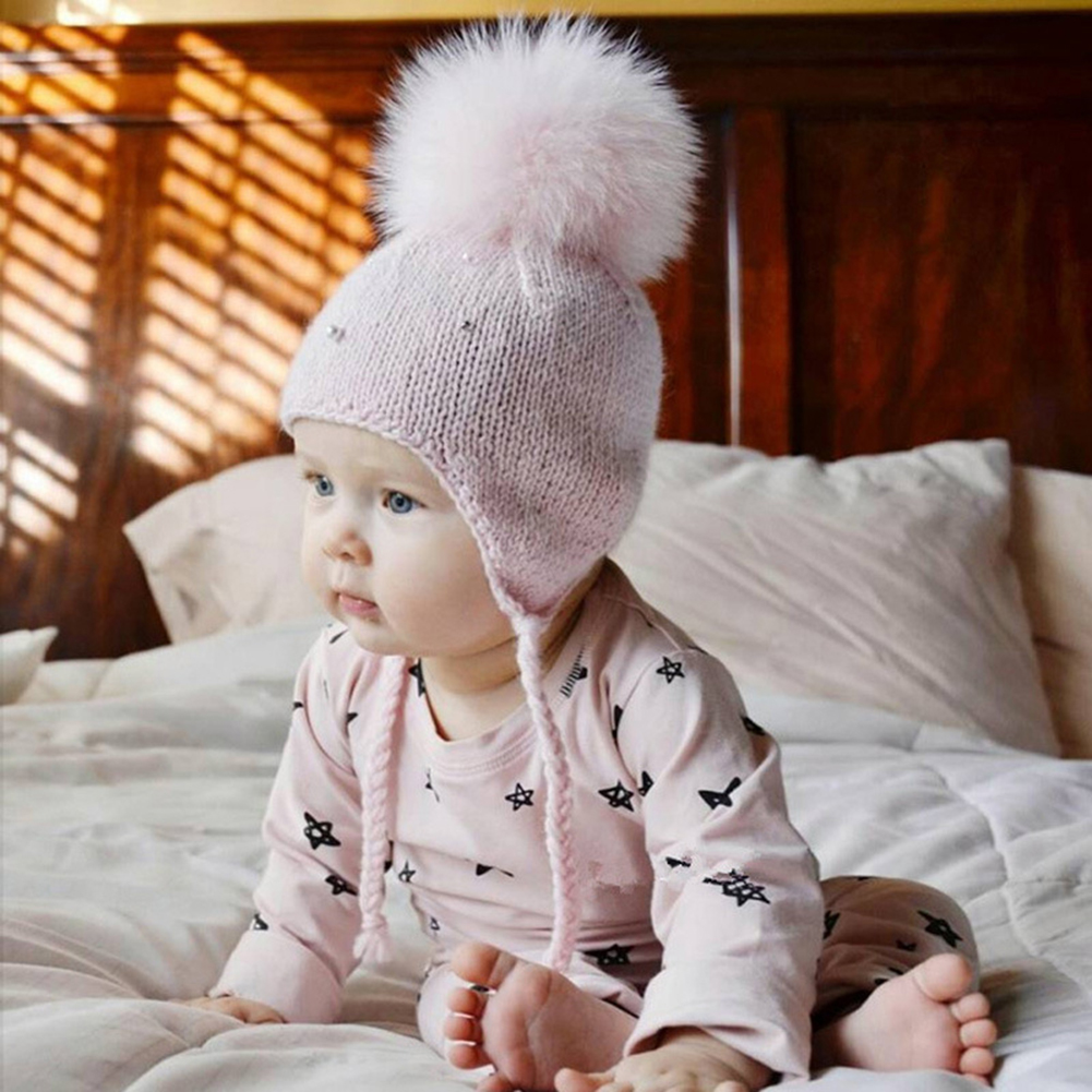 Winter Lovely Big Fluffy Ball Earflap Braid Beanie Baby Warm Knitted Hat Cap