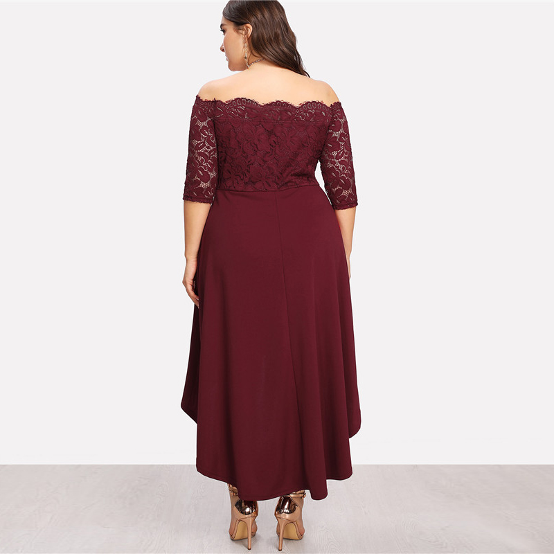 425aa263199 SHEIN Elegant Off The Shoulder High Waist Women Plus Size Lace ...