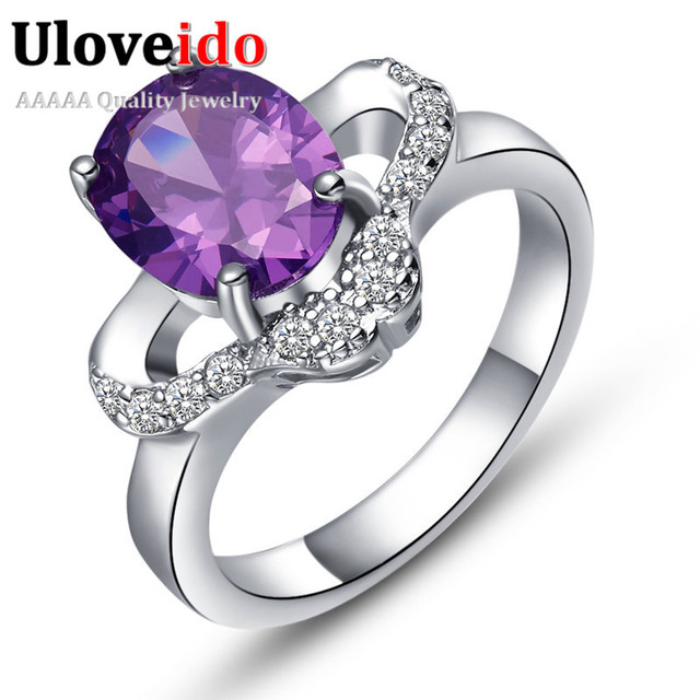 US $4 92 24% OFF|Aliexpress com : Buy Uloveido USA Market Cheap Engagement  Rings Jewelry Purple Crystal Ring Girl Wedding Accessories Silver Ring for