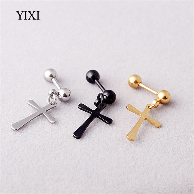 YIXI 2018 Barbell Style Cross Hanging Silver Black Gold Stainless Steel  Female Male Stud Earrings for Women Men Studs Earring 5172b29da5e1