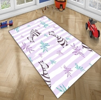 Else Purple Lines Black White Cute Zebra Tropical Animal 3d Print Non Slip Microfiber Children Kids Room Decorative Area Rug Mat