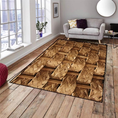 Else Brown Bamboo Floral Wood Designs 3d Pattern Print Non Slip Microfiber Living Room Decorative Modern Washable Area Rug Mat