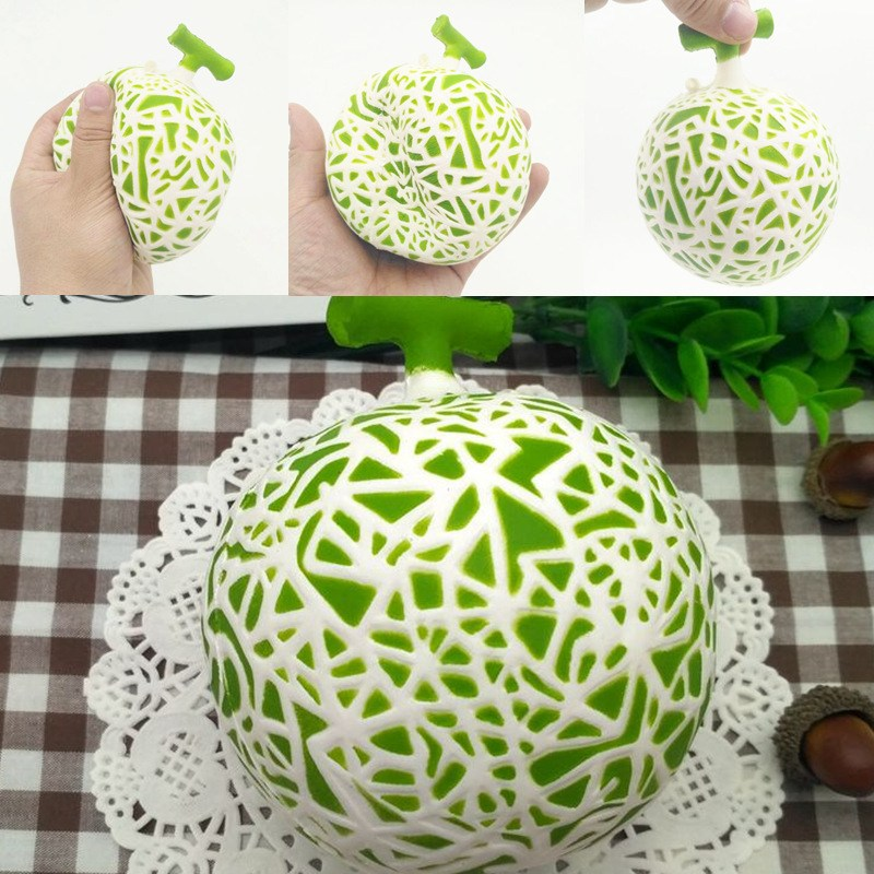 Hami Melon Cantaloupe Slow Rising 10cm Retail Packaging Phone Straps Charms Fruit Scented Toy For Children Kids Relief Stress