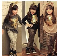 Girls clothing set autumn leopard print casual sports girl suit 2-10 years kids clothes baby children cartoon pullover baby girl
