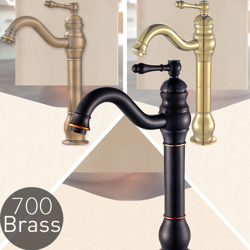 Bathroom Vessel Sink Faucet , Solid Brass, Single Handle Lever, Antique Brass , Polished Gold , Oil Rubbed Bronze / Black , 2022