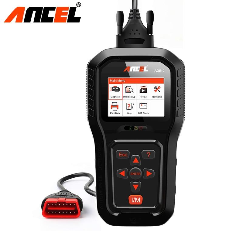 Ансель AD510 Pro OBD2 диагностики автомобилей автомобильной сканер OBD 2 двигателя Code Reader Батарея тестер в нескольких Язык ODB2 сканер
