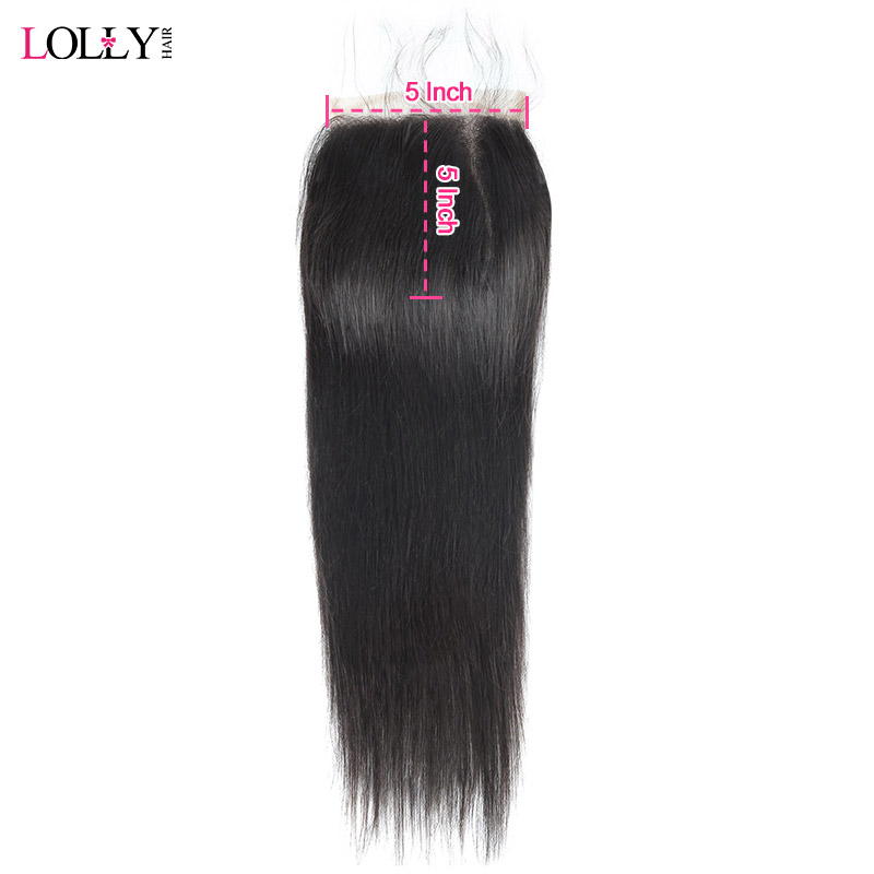 Lolly Peruvian Straight Hair Closure 5X5 Inch 1 Pc Human Hair Closure Baby Hair Middle Part Swiss Lace Closure 130% Density