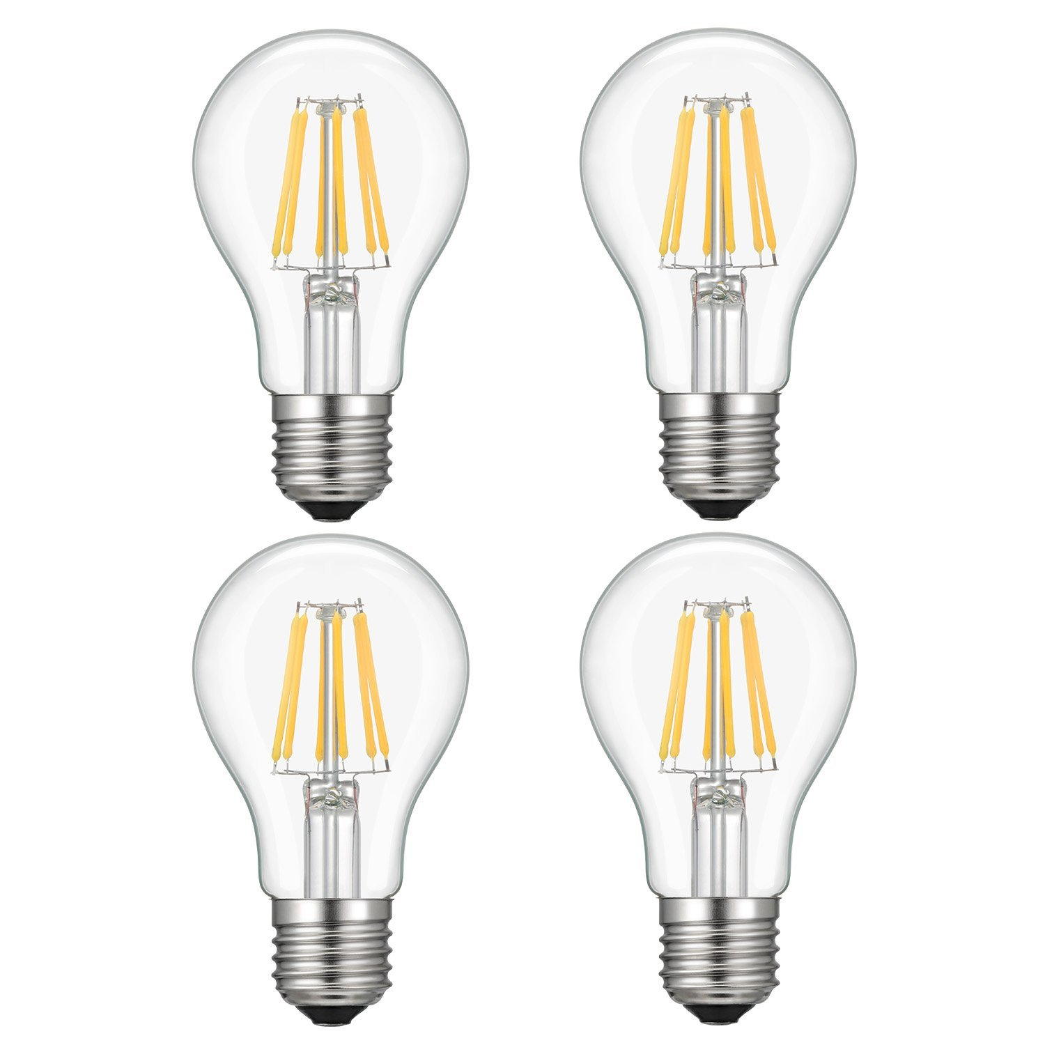Kohree 4 Packs Dimmable 6w A19 Led Edison Light Bulb 110v