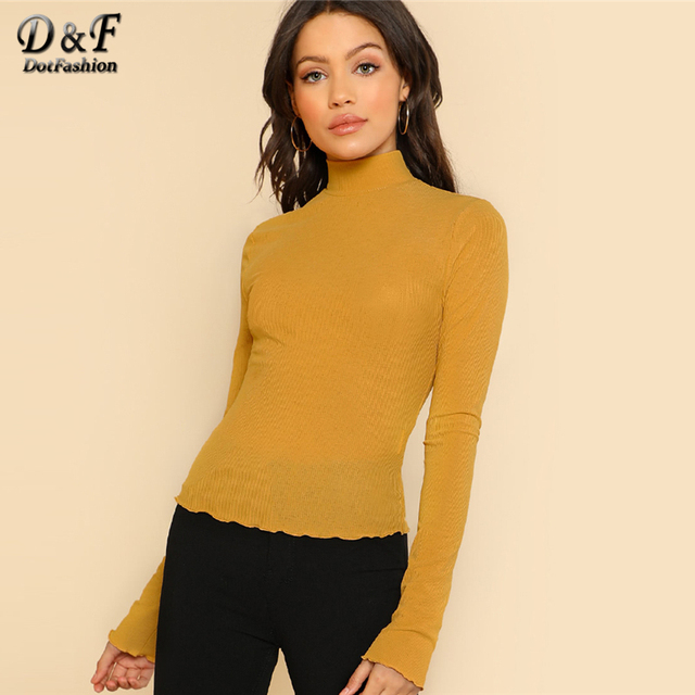 Dotfashion Lettuce Hem Slim Fit Mustard T-Shirt Autumn Casual Women High  Neck Long Sleeve Tops Female Spring Workwear Plain Tee 74a5338a8
