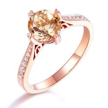 Peacock Star 14K Rose Gold Wedding Engagement Ring 1.2 Ct Peach Morganite 0.13 Ct Natural Diamonds