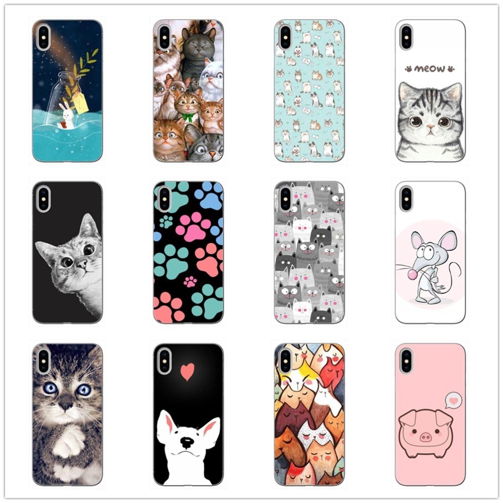 Cartoon Cat Phone Case Soft TPU Silicone Clear Cases Covers for Apple iPhone 6 6s 7 8 Plus X Coque