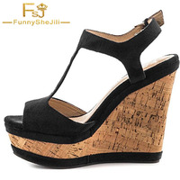 Camoscio nero sughero di Legno Zeppe Donna Scarpe di Legno Tacchi Alti Sandali della piattaforma Caviglia T-Strap Abito Scarpe Delle Signore Casuali di Formato FSJ 16