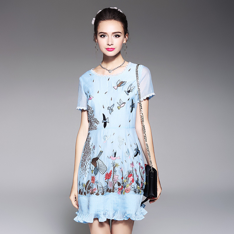Luxury Bird Embroidery Brand Runway Dresses 2018 Women's High Quality European Style 4XL 5XL Plus Size Casual Mini Dress