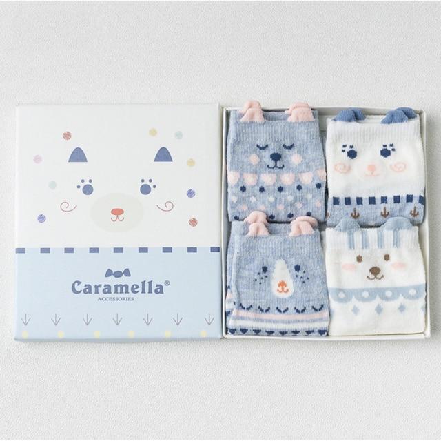 Комплект детских носков «мишки» синего цвета, 4 пары