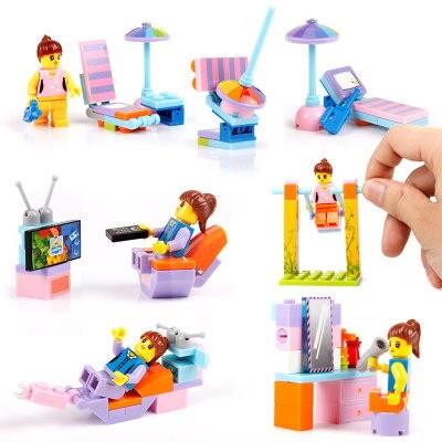 4 pces/Lot Children Family Assemble Plastic Blocks Toys Girls Small Blocks Blocks Assembly Puzzle Toys Gifts