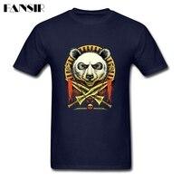 Custom Designs Panda Warrior Tailored T Shirts For Men White Short Sleeve Shirts 3XL