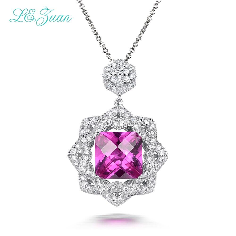 Fine Jewelry Necklace For Women The Love Nest 925 Sterling Silver Pendants 5.34ct Ruby Pink Stone Luxury Bijoux P0059-W07