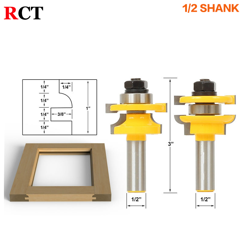 1/2 Shank Rail & Stile Router Bits - Matched 2 Bit door knife Woodworking cutter Tenon Cutter for Woodworking Tools high grade carbide alloy 1 2 shank 2 1 4 dia bottom cleaning router bit woodworking milling cutter for mdf wood 55mm mayitr