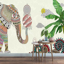 Hand-painted Thai elephant bar restaurant wall professional production mural wholesale wallpaper poster photo