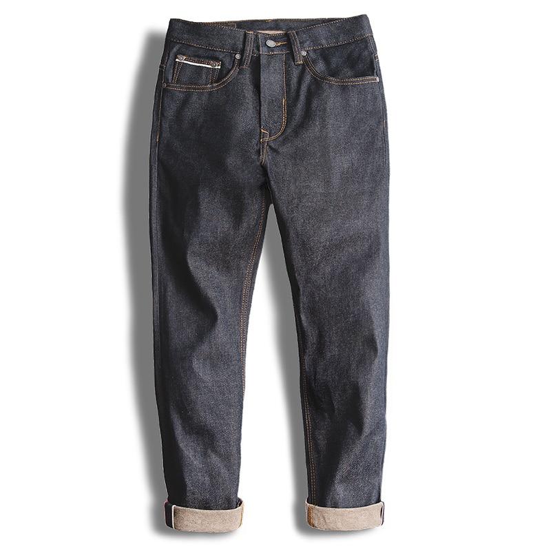 MADEN männer Vintage Regelmäßige Gerade Fit Ungewaschenen Raw Kanten Denim Jeans-in Jeans aus Herrenbekleidung bei  Gruppe 2