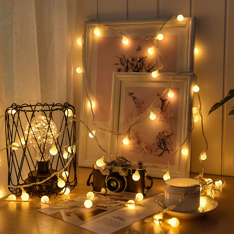 Fairy Garland 1.5M 3M 6M LED Ball String Lights Outdoor Waterproof Decorative Lamps For Christmas Wedding Garden Party
