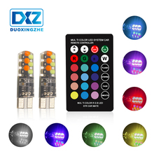 DXZ Led W5W T10 RGB Clearance light New Universal Car COB 12SMDs Colorful Multi Mode Light Bulbs With Remote Controller