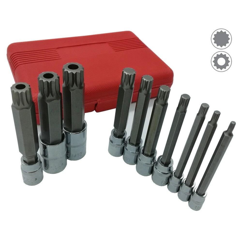 10Pcs 4 Inch Extra Long XZN Triple Square Spline Bit Socket Set, S2 Steel Bits,Chrome Vanadium Sockets 4mm-18mm Hand Tool  Set
