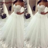 Vintage Lace Appliques Wedding Dresses Tulle A Line Long Wedding China Bride Bridal Dress Wedding Gowns Weddingdress 2018