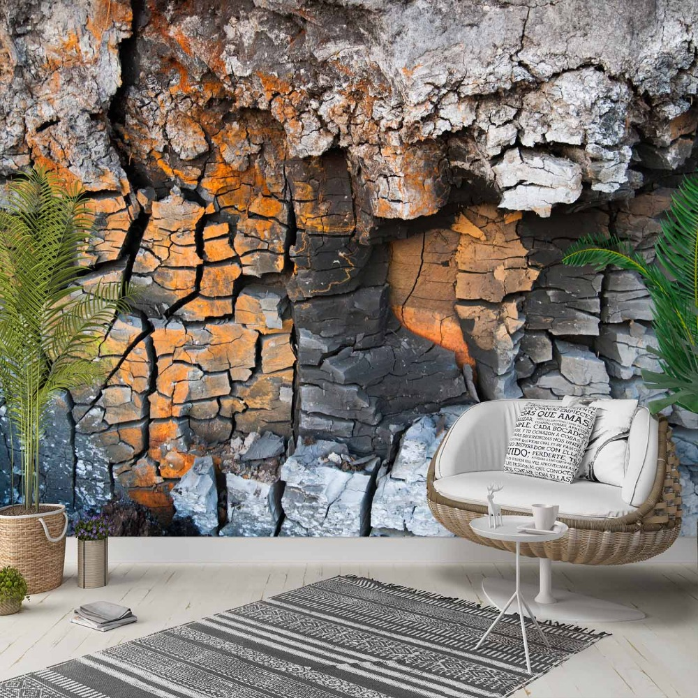 Else Mountain Gray Brown Broken Stones Wall 3d Photo Cleanable Fabric Mural Home Decor Living Room Bedroom Background Wallpaper