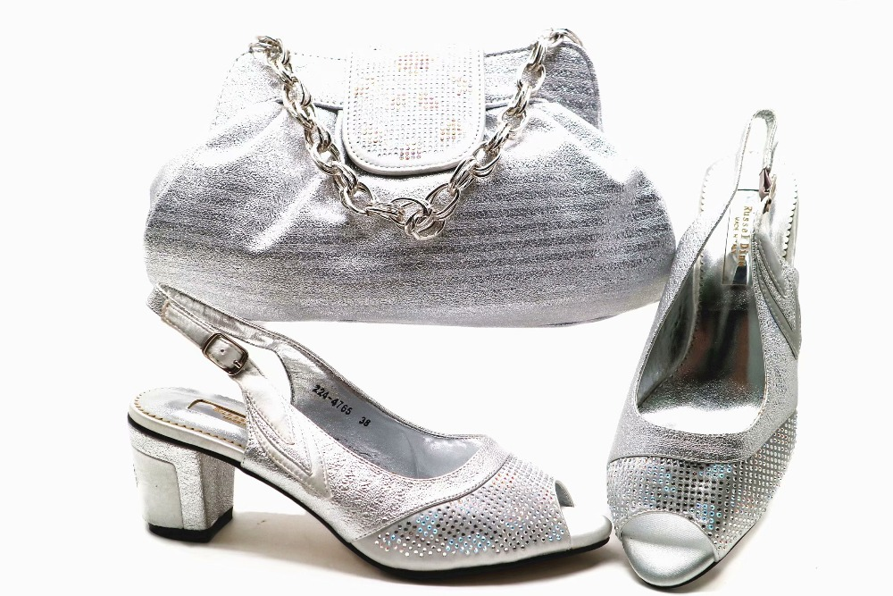 726b3996c135 Size 38 to 43 african lady aso ebi party shoes and bag new shoe bag silver