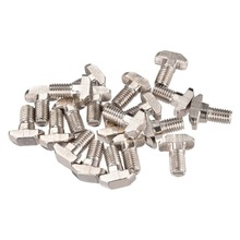 UXCELL 20pcs Bolts M8 Thread 16mm T-Slot Drop-In Stud Sliding Screw Bolt Carbon Steel 40 Series For clamping lock