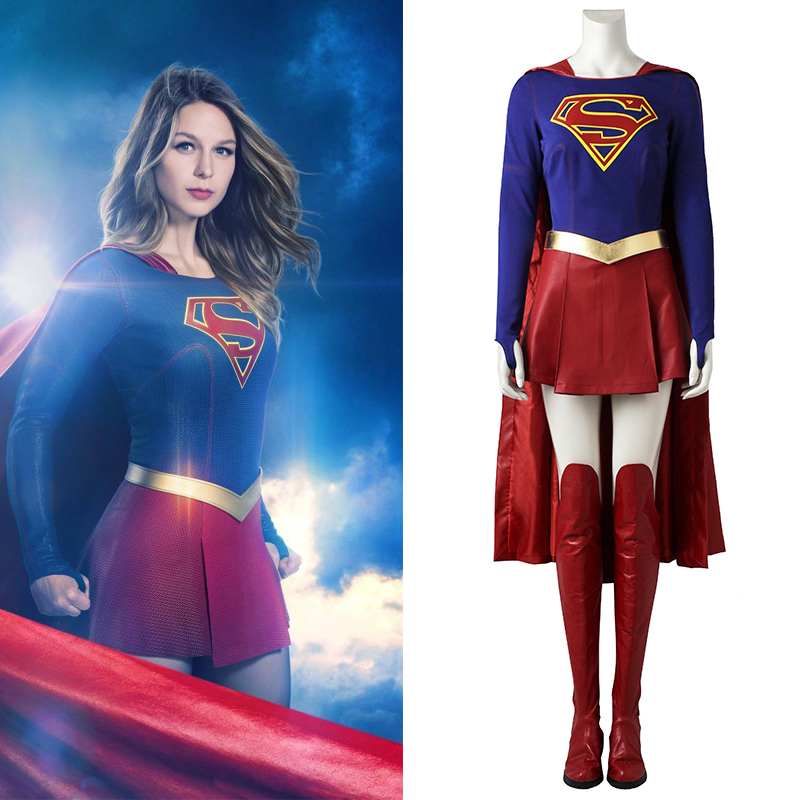 Supergirl Cosplay Costume Kara Zor-El Danvers Cosplay Jumpsuit Fancy Outfit Superhero Halloween Cosplay Full Suit Custom Made